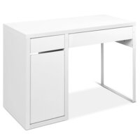 White Home Office Computer Desk w/ Cupboard Storage