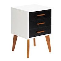 Scandinavian 3 Drawer Bedside Table Black & White