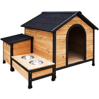 Outdoor Insulated Dog House Kennel w/ Food Bowls