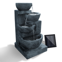Outdoor Solar 4 Tier LED Bowl Water Fountain Blue