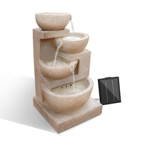 Four-Tier Solar Outdoor Water Fountain Feature