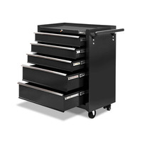 5 Drawer Metal Roller Toolbox Cabinet in Black