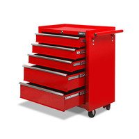 5 Drawer Roller Toolbox Storage Cabinet in Red