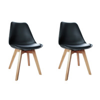 Replica Eames Black PU Leather Dining Chairs x 2