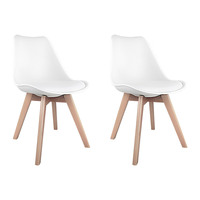 Replica Eames White PU Leather Dining Chairs x 2