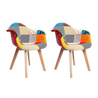 2x Fabric Armchairs Eames Replica with Wooden Legs