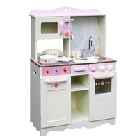 Kids Wooden Play Kitchen w Accessories White & Pink