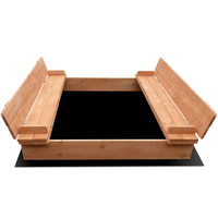 Kids Square Sandbox Wooden Sand Pit 95cm + Cover