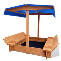 Kids Canopy Sandbox Wooden Sand Pit 120cm