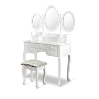 White Makeup Dressing Table w/ 3 Mirrors & Stool