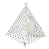 Kids Black/White Teepee Tent 4 Poles + Storage Bag