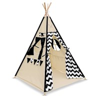 Kids Black Cotton Teepee Tent 4 Poles + Storage Bag