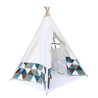 Kids Multicolour Bottom Teepee Tent Cotton 4 Poles