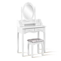 Queen Ann 4 Drawer Dressing Table w/ Mirror & Stool