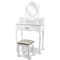 3 Drawer Dressing Table w/ Mirror & Stool in White