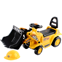 Kid's Ride On Car Bulldozer in Yellow with Helmet
