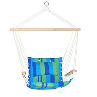 Hammock Chair Swing Blue Green Timber Padded Seat