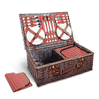 20pc Picnic Basket Set for 4 + Cooler Bag + Blanket