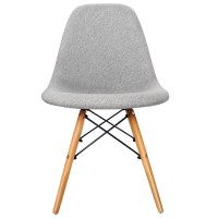 2x Replica DSW Eames Padded Dining Chairs Grey