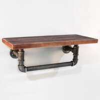 Industrial Timber Pipe Floating Wall Shelf 61cm