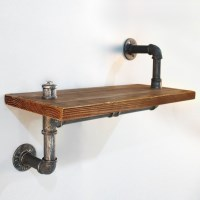 Industrial Timber Pipe Up Down Floating Shelf 61cm