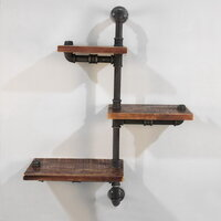 Alternate Level Rustic Industrial Pipe Wall Shelves