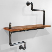 Rustic Industrial Pipe Singular Wall Shelf 92cm