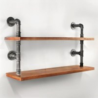 2 Rustic Industrial Pipe & Timber Wall Shelves 92cm