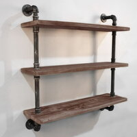 3 Level Rustic Industrial Timber & Pipe Shelf 92cm