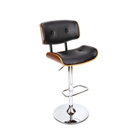 Wood & Black PU Leather Curve Seat Chrome Bar Stool