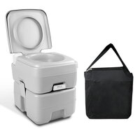Camping Pump Flush Portable Toilet w/ Bag 20L