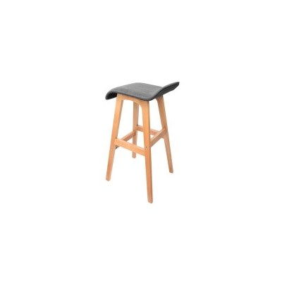 2x S-Curve Fabric Beech Wood Bar Stool Black 74cm
