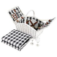 2 Person Picnic Basket Hamper Set w/ Blanket White