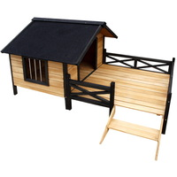 Waterproof Timber Roofed Dog House Kennel w/ Patio