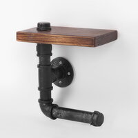 Rustic Floating Pipe Toilet Paper Holder w/ Shelf