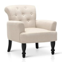 French Provincial Linen Upholstered Armchair Taupe