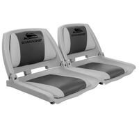 2x Swivel Folding Marine Boat Seats Grey & Charcoal
