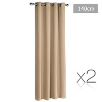 2x Artqueen Eyelet Blockout Curtains in Latte 140cm