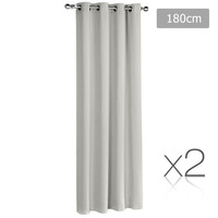 2x Artqueen Eyelet Blockout Curtains in Ecru 180cm