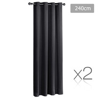 2x Artqueen Eyelet Blockout Curtains in Black 240cm