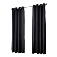 2x Artqueen Blockout Curtains in Black 300cm 310GSM