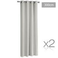 2x Artqueen Eyelet Blockout Curtains in Ecru 300cm
