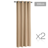 2x Artqueen Eyelet Blockout Curtains in Latte 300cm