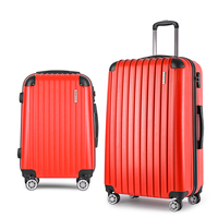 2 Size Hard Suitcase Travel Luggage Set in Red