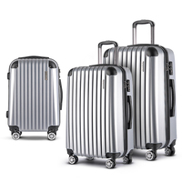3 Size Hard Suitcase Travel Luggage Set in Silver