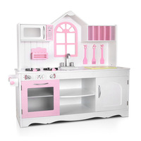 Deluxe Kids Wooden Play Kitchen in White and Pink