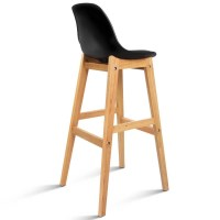 2x Black PU Leather Bar Stools w/ Medium Back Rest