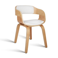 Silas White PU Leather Dining Chair with Wide Seat