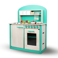 Kids Wooden Toy Kitchen Pretend Play Set Green 8pc