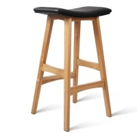 2x Black PU Leather Bar Stools with Oak Wood Legs